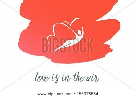 Hand Drawn Typography Poster With Woman Butterfly. Love Is In Th