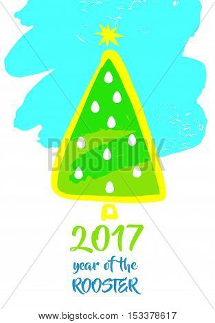 Illustration Vector Xmas Tree With Christmas Decoration For Happ