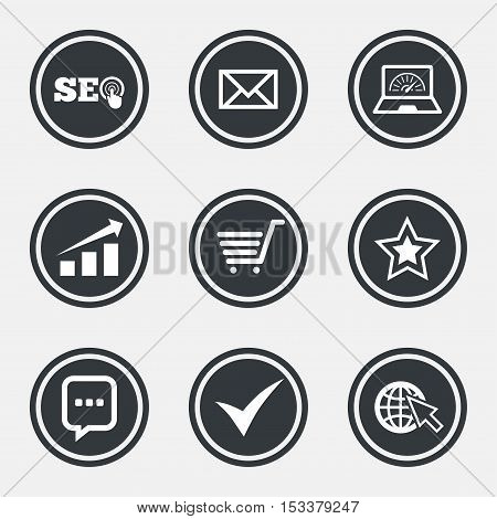 Internet, seo icons. Tick, online shopping and chart signs. Bandwidth, mobile device and chat symbols. Circle flat buttons with icons and border. Vector