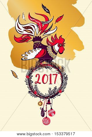 Illustration For Happy New Year 2017 With Silhouette Cock And Ch