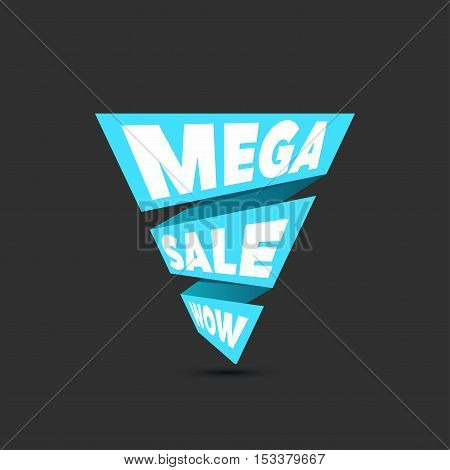 Mega sale design template. Creative blue banner. Vector blue ribbon illustration, marketing price tag, discount, advertising. Abstract vector illustration for shopping.