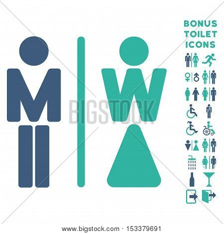 WC Persons icon and bonus gentleman and lady lavatory symbols. Vector illustration style is flat iconic bicolor symbols, cobalt and cyan colors, white background.