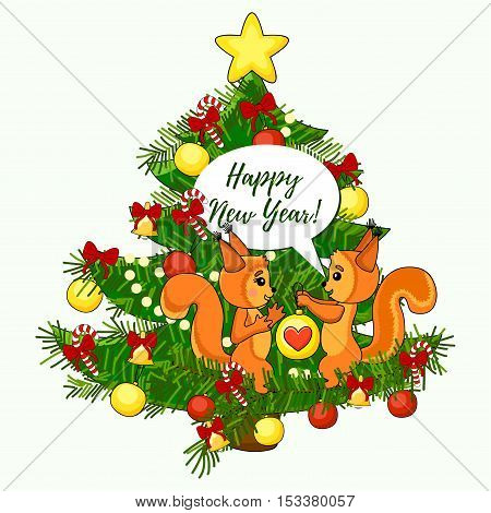 Christmas cute card with squirrel and christmas tree. Happy New Year text. Vector illustration.