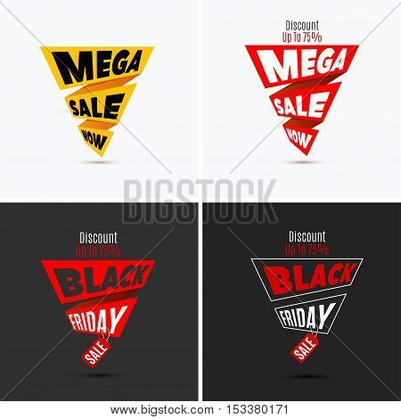 Black Friday sale design template. Creative banner. Vector illustration, marketing price tag, discount, advertising. Abstract vector illustration for shopping. Set.
