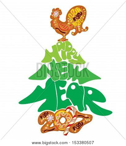 Hand written calligraphic text Happy New Year 2017 isolated on white background. Year number as cookies. Winter holidays design. Stylized rooster from Chinese calendar.