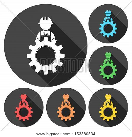 Under construction illustration gear design icons set with long shadow