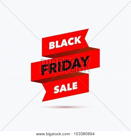 Black Friday sale design template. Creative red ribbon banner. Vector illustration, marketing price tag, discount, advertising. Abstract vector illustration for shopping.