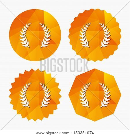 Laurel Wreath sign icon. Triumph symbol. Triangular low poly buttons with flat icon. Vector