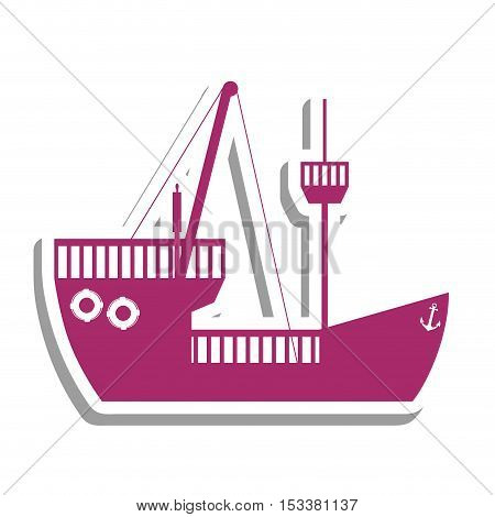 violet boat or ship pictogram icon image vector illustration