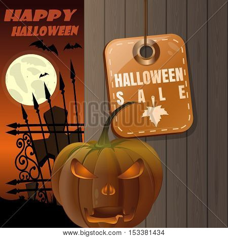 Price tag with inscription - Halloween sale. Jack-o'-lantern on a background of a wooden fence. Full moon over the cemetery. Illustration for Halloween
