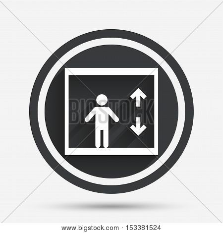 Elevator sign icon. Person symbol with up and down arrows. Circle flat button with shadow and border. Vector