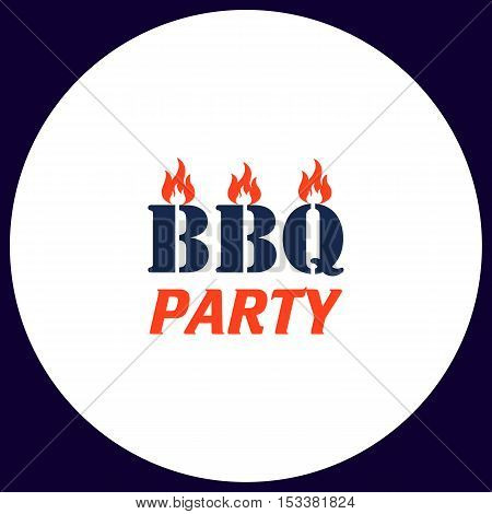 Distressed BBQ Simple vector button. Illustration symbol. Color flat icon