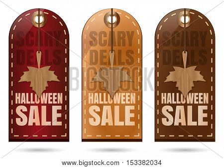 Set tag price for Halloween sale. Scary Deals. Colorful illustration for Halloween