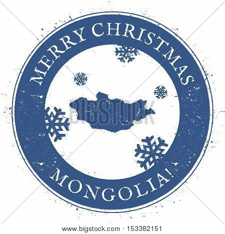 Mongolia Map. Vintage Merry Christmas Mongolia Stamp. Stylised Rubber Stamp With County Map And Merr