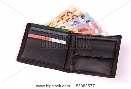 photo of Euros in a black leather wallet