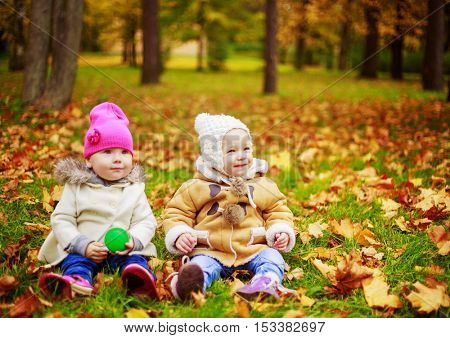two girls sitting on the grass in the autumn park