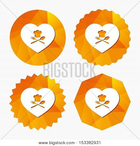 Chef hat sign icon. Love Cooking symbol. Cooks hat with fork and spoon. Triangular low poly buttons with flat icon. Vector