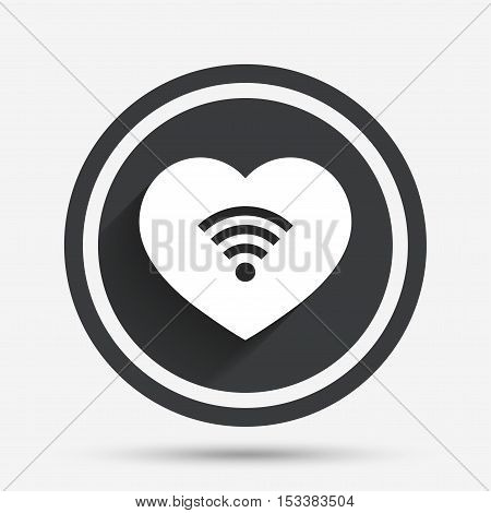 Love Wifi sign. Wi-fi symbol. Wireless Network icon. Wifi zone. Circle flat button with shadow and border. Vector