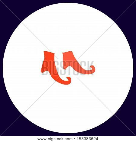 Witch boots Simple vector button. Illustration symbol. Color flat icon