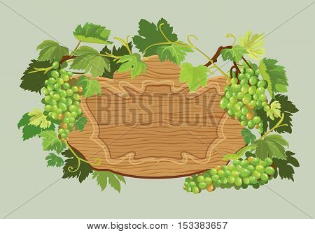 Wooden oval frame with green grapes and leaves isolated on beige background. Element for restaurant bar cafe menu or label.