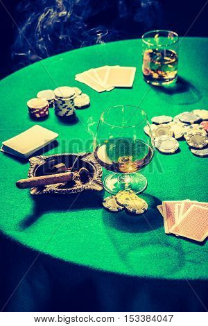 Vintage Table For Poker With Cards And Chips