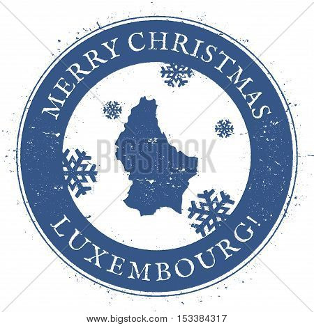 Luxembourg Map. Vintage Merry Christmas Luxembourg Stamp. Stylised Rubber Stamp With County Map And