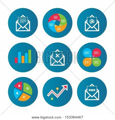 Business pie chart. Growth curve. Presentation buttons. Mail envelope icons. Message document symbols. Post office letter signs. Delete mail and SMS message. Data analysis. Vector