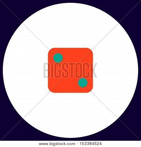 dice 2 Simple vector button. Illustration symbol. Color flat icon