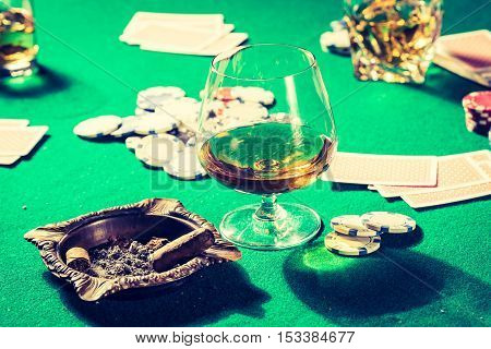 Cards And Chips In Old Gambling Table