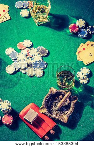 Chips And Cards In Vintage Table For Poker