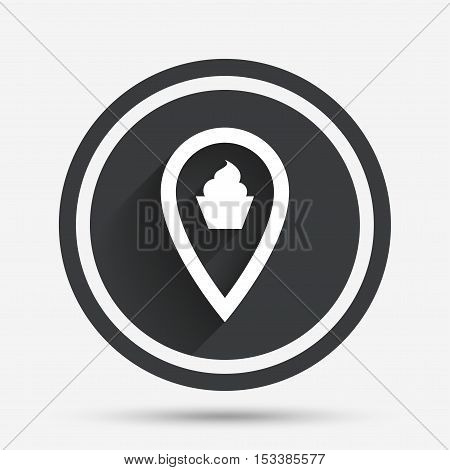 Map pointer food sign icon. Restaurant location marker symbol. Circle flat button with shadow and border. Vector