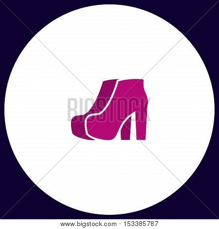 woman boots Simple vector button. Illustration symbol. Color flat icon