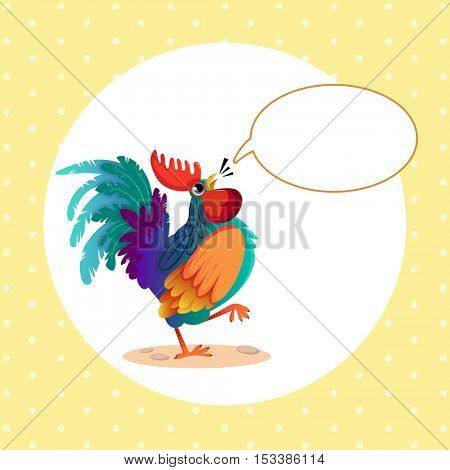Cock and cloud for text. Vector illustration of rooster, symbol of 2017 on the Chinese calendar. Speech bubble. Happy New Year. Space for your congratulations