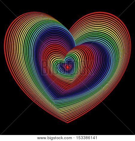 Twisted Spectrum Of Heart Shapes Over Black