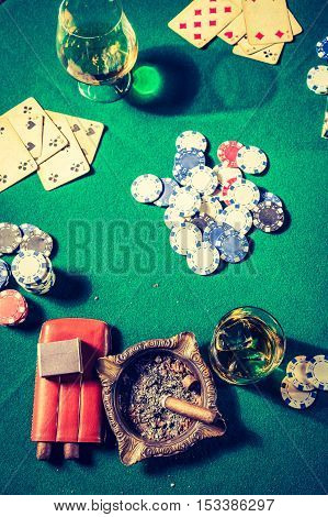 Closeup Of Table For Poker With Cards And Chips