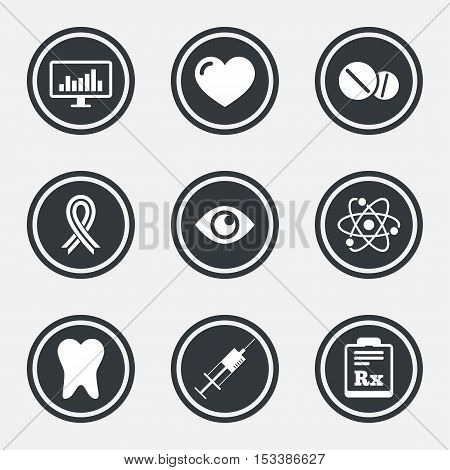 Medicine, medical health and diagnosis icons. Syringe injection, heart and pills signs. Tooth, awareness ribbon symbols. Circle flat buttons with icons and border. Vector