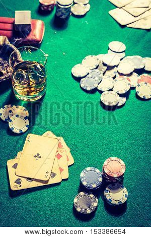 Old Table For Poker With Cards And Chips