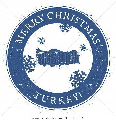 Turkey Map. Vintage Merry Christmas Turkey Stamp. Stylised Rubber Stamp With County Map And Merry Ch
