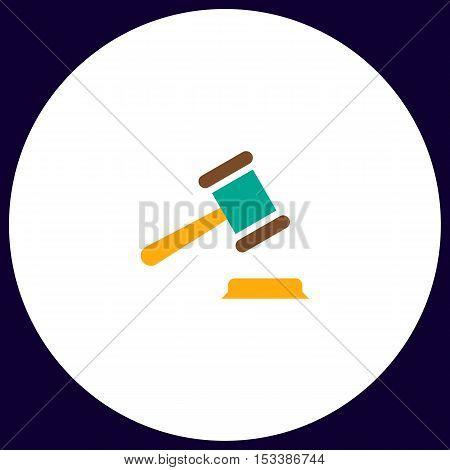 Judge gavel Simple vector button. Illustration symbol. Color flat icon