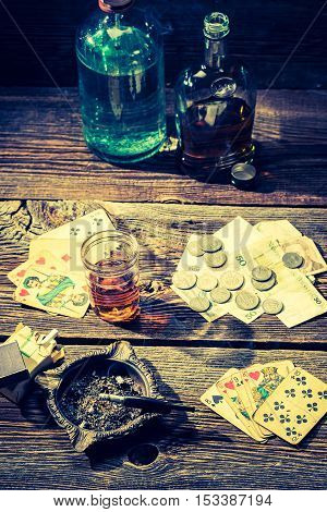 Cards And Money On Vintage Illegal Gambling Table