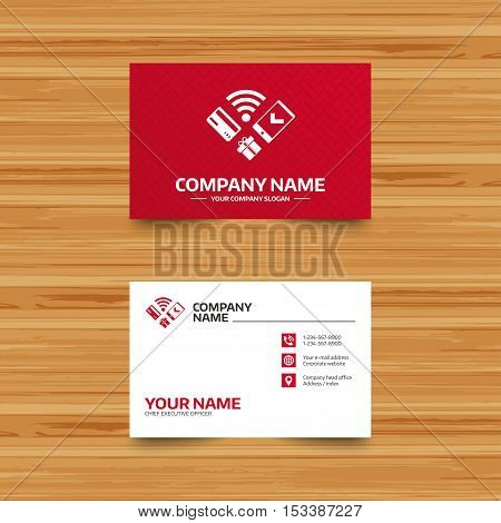 Business card template. Wireless mobile payments icon. Smartphone, credit card and gift symbol. Phone, globe and pointer icons. Visiting card design. Vector
