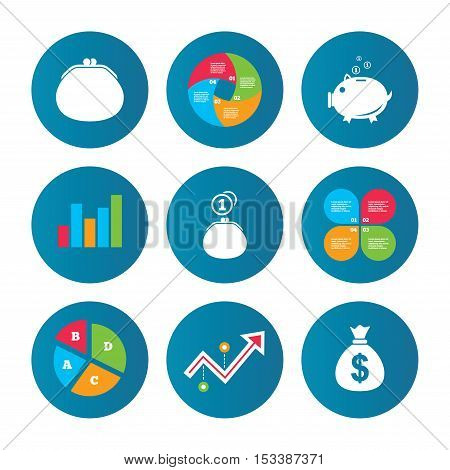 Business pie chart. Growth curve. Presentation buttons. Wallet with cash coin and piggy bank moneybox symbols. Dollar USD currency sign. Data analysis. Vector