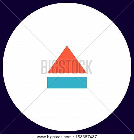 Eject Simple vector button. Illustration symbol. Color flat icon