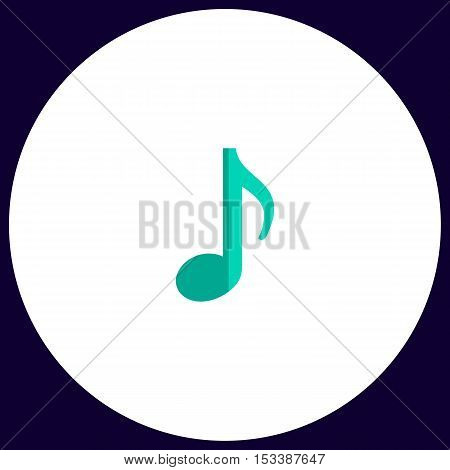 music note Simple vector button. Illustration symbol. Color flat icon