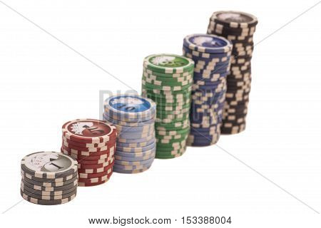 Stack of casino chips isolated on white background