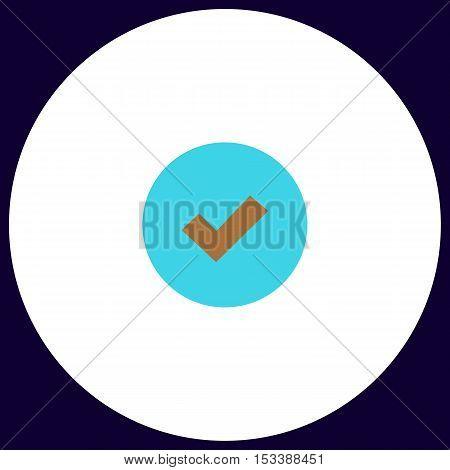 Tick Simple vector button. Illustration symbol. Color flat icon