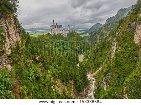 High Resolution Panoramic view of Neuschwanstein Castle in Bavarian Alps of Germany