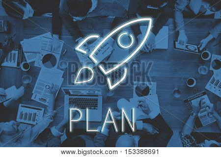 Business Starrup Goals Rocketship Graphic Concept