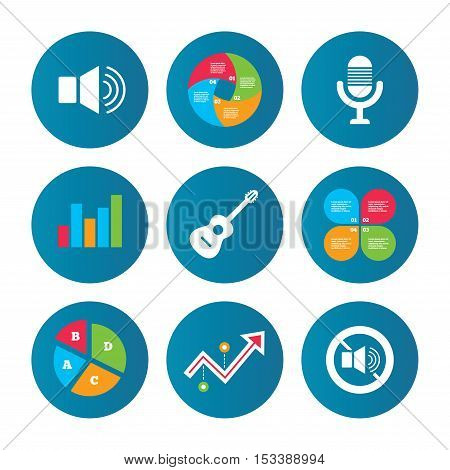 Business pie chart. Growth curve. Presentation buttons. Musical elements icons. Microphone and Sound speaker symbols. No Sound and acoustic guitar signs. Data analysis. Vector