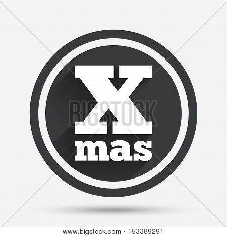 Happy new year sign icon. Xmas symbol. Circle flat button with shadow and border. Vector